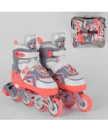 Ролики 1077-S Best Roller /размер 30-33/ цвет – КОРАЛЛОВЫЙ (6) колёса PU, ПЕРЕДНЕЕ КОЛЕСО СВЕТ, в сумке, d колес – 6.5 см