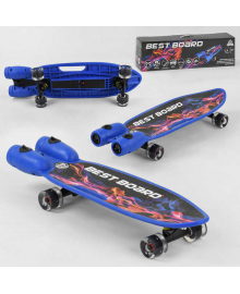 Скейтборд S-00605 Best Board (4) с музыкой и дымом, USB зарядка, аккумуляторные батарейки, колеса PU со светом 60х45мм