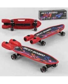 Скейтборд S-00710 Best Board (4) с музыкой и дымом, USB зарядка, аккумуляторные батарейки, колеса PU со светом 60х45мм