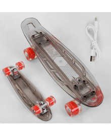 Скейт Пенни борд S-40133 Best Board (6) прозрачная дека со светом, колёса PU со светом, зарядка USB