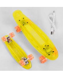 Скейт Пенни борд S-50244 Best Board (6) прозрачная дека со светом, колёса PU со светом, зарядка USB