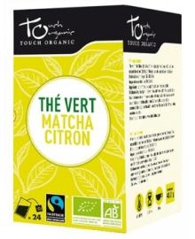 Чай зеленый с добавлением чая матча с ароматом лимона Touch organic, неферментированый в пакетиках, органический, 24шт.