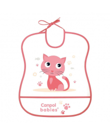 Нагрудник пластиковый мягкий Canpol babies Sweet Kitty