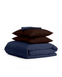 Комплект евро взрослого постельного белья сатин DARK BLUE CHOCOLATE-P Сатин_Синий_ШоколадН_200