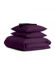 Комплект семейного постельного белья сатин VIOLET BLACK-S Сатин_Фиолет_ЧерныйП_160x2