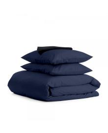 Комплект семейного постельного белья сатин DARK BLUE BLACK-S Сатин_Синий_ЧернаяП_160x2