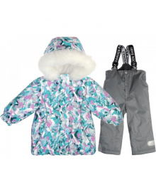 Комплект зимний куртка и брюки для девочки Абстракция серо-салатовая Garden baby 102019-63/33, 4821020196414, 4821020196148