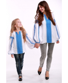 Вишиванка для дівчинки Думка біла + синя вставка р. 140, 146,152, 158, 164 BLd-308-520-O
