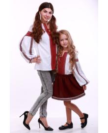 Вишиванка для дівчинки Думка біла + червона вставка р. 92, 98,104, 110 BLd-308-520-O