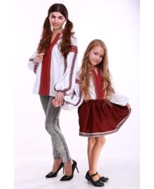 Вишиванка для дівчинки Думка біла + червона вставка р. 116, 122,128, 134 BLd-308-520-O