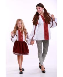 Вишиванка для дівчинки Думка біла + червона вставка р. 140, 146,152, 158, 164 BLd-308-520-O