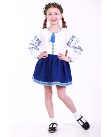 Вишиванка для дівчинки Трояндова доріжка синя р. 92, 98,104, 110 BLd-302-069-O