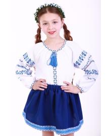 Вишиванка для дівчинки Трояндова доріжка синя р. 140, 146,152, 158, 164 BLd-302-069-O
