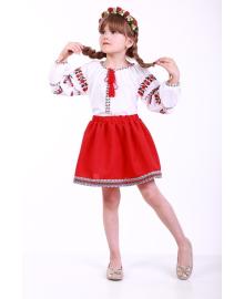 Вишиванка для дівчинки Трояндова доріжка червона р. 116, 122,128, 134 BLd-302-069-O