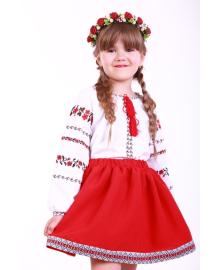 Вишиванка для дівчинки Трояндова доріжка червона р. 140, 146,152, 158, 164 BLd-302-069-O