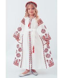 Вишите плаття для дівчинки Розкіш 2 біле + червона вишиванка р. 116, 122, 128, 134 PLd-120-150-L