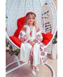 Вишите плаття для дівчинки Розкіш 2 біле + червона вишиванка р. 140, 146, 152, 158 PLd-120-150-L