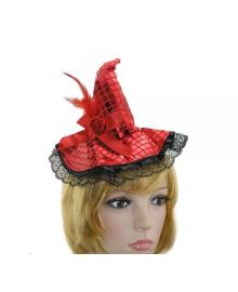 Шляпка ведьмы на обруче (красная пайетка) 210916-010 PartyFactory