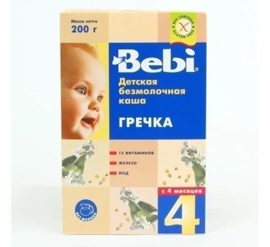 Детская безмолочная каша «Гречка», 200г. Bebi 1002622, 3838471019897