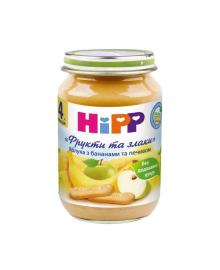 Пюре органическое HiPP Яблоки Бананы Печенье Фрукты и злаки 190 г