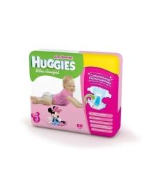 Подгузники Huggies Ultra Comfort Мega для девочек Размер 3 (5-9 кг), 80 шт
