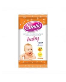 Влажные салфетки Smile baby с экстрактами ромашки и алоэ 0+ 15 шт