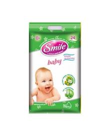 Влажные салфетки Smile baby с экстрактами ромашки и алоэ 0+ 24 шт