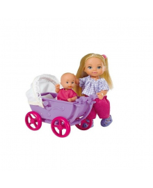 Кукла Steffi & Evi Love Эви с малышом в коляске (в ассорт.) 5736241, 4006592562410