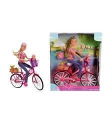 Набор Steffi & Evi Love Штеффи с малышом на велосипеде