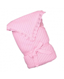 Вязаный конверт-одеяло Фламинго Мягкое прикосновение розовый 100х100
