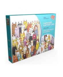 Набор акриловой живописи по номерам «50 котов»