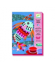 Художественный комплект для рисования цветным песком и блестками Радужные рыбки