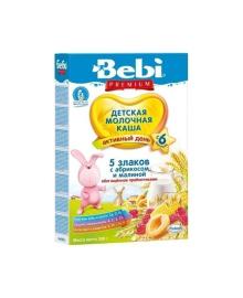 Молочная каша Bebi 5 злаков с малиной и абрикосом, 200 г