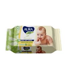 Влажные салфетки AURA Baby Sensitive, 60 штук