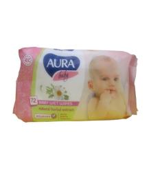 Влажные салфетки Aura Baby с клапаном 72 шт