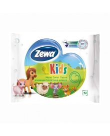 Влажная туалетная бумага Zewa Kids детская, 42 шт