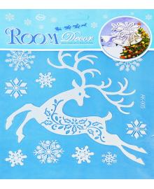 Наклейка Олень с снежинками 151118-094