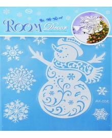 Наклейка Снеговик с снежинками 151118-095