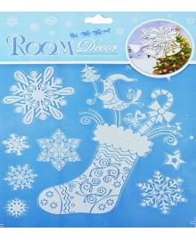 Наклейка Носок с снежинками 151118-096