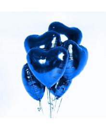 Букет шаров Сердца синие 7 шт. ГЕЛИЙ 250418-510 4party