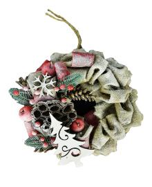 Рождественный венок с яблоками мини 111018-006