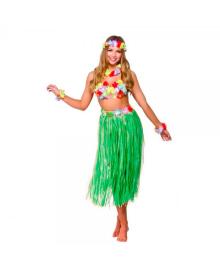Гавайский костюм с длинной юбкой (зеленый) 100318-006