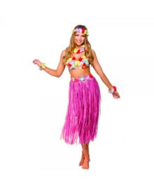 Гавайский костюм с длинной юбкой (розовый) 100318-009
