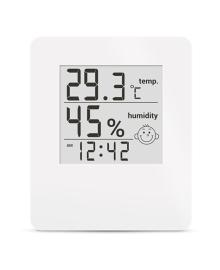 Цифровой термогигрометр Стеклоприбор Т-17 с часами белый
