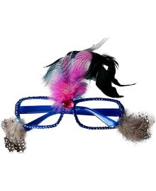 Очки Гламур с перьями (синие) 100619-001