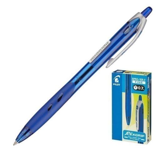 Ручка шариковая Pilot RexGrip синяя, 0.7 мм BPRG-10R 7T, 4902505270598