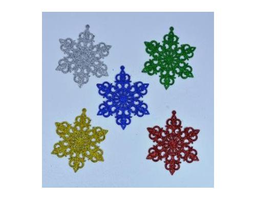 Снежинка 13 см разноцветная декоративная 171116-010