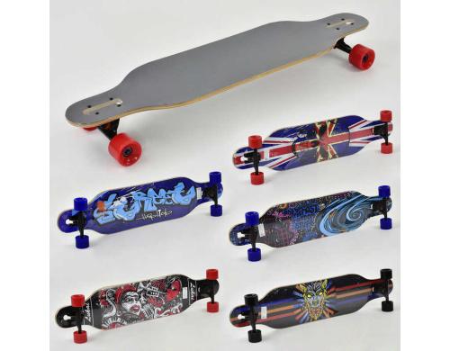 Детский лонгборд Best Board F 22231 (10) колеса PU 70х50мм, канадский клен, подшипники ABEC-11, подвеска - алюминий, 5 дизайнов